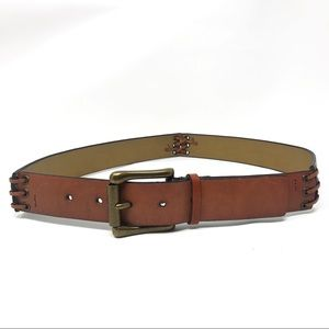 Brown Leather Belt Stitched Jointed Medium M